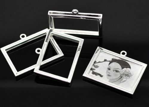 2 Silver Plated Rectangle Frame Pendants 34x27mm(Fit 30x23mm)